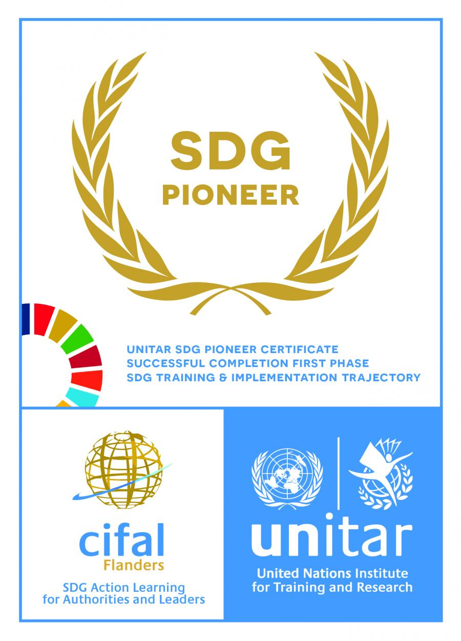 "Vandecasteele Houtimport has obtained the ""SDG Pioneer certificate"" from UNITAR CIFAL."