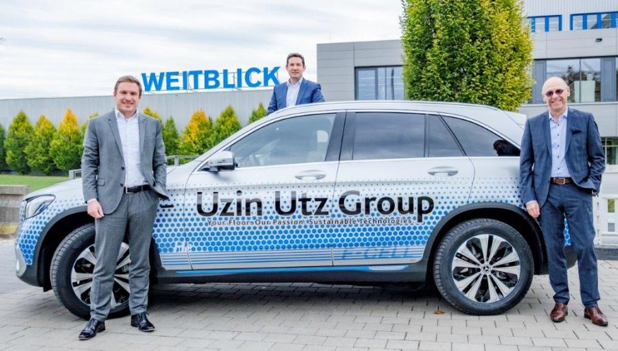 New climate-neutral company car with fuel cell and bat-tery drive in the fleet of Uzin Utz